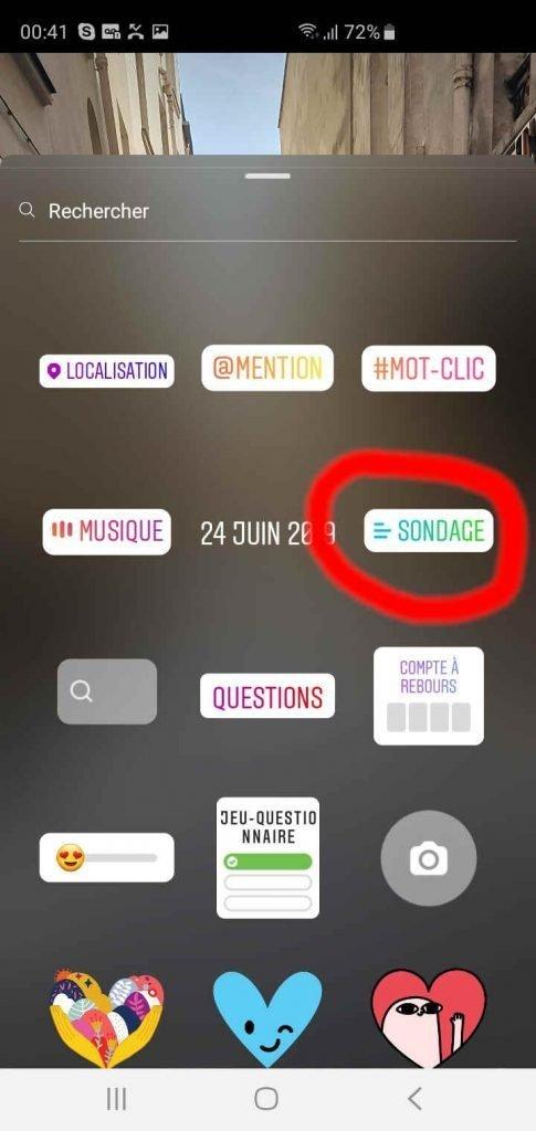 comment créer un sondage instagram