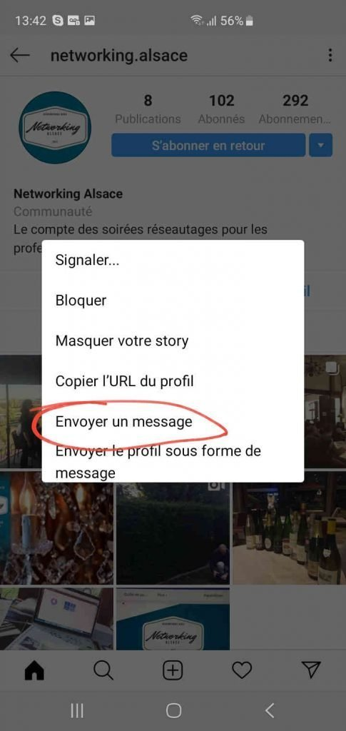comment envoyer un message privé instagram