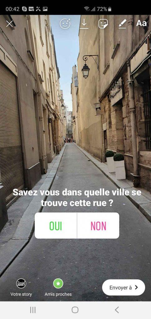création de sondage instagram