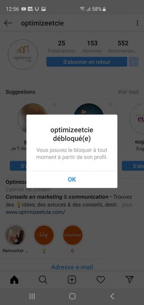 débloquer un utilisateur sur instagram