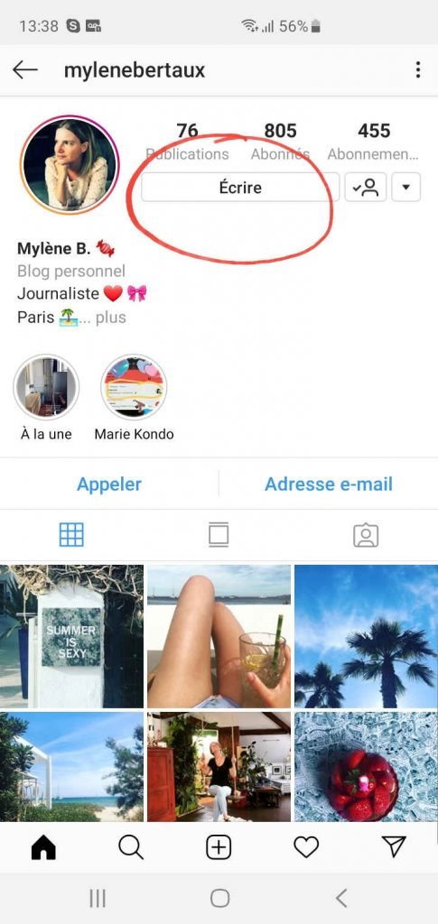 envoyer un message privé instagram