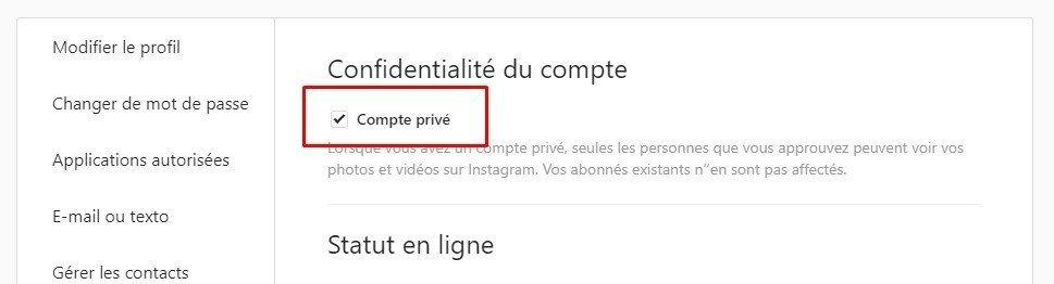 mettre son profil instagram en privé